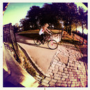 iPhone fisheye lens - girl on bike
