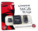 "Kingston Kingston 16Gb MicroSDHC Class 10 Multi-Kit | <a target=""_blank"" href=""https://www.magezinepublishing.com/equipment/images/equipment/Kingston-16Gb-MicroSDHC-Class-10-MultiKit-3959/highres/kingston16gbmicrosdkitfrontJPG_1327490670.jpg"">High-Res</a>"